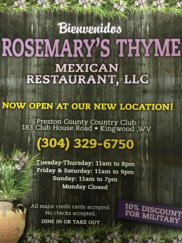 rosemarys thyme mexican restaurant menu