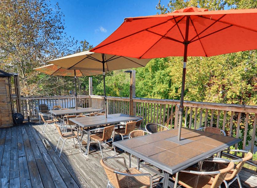 Mountain State Patio, tables, umbrellas