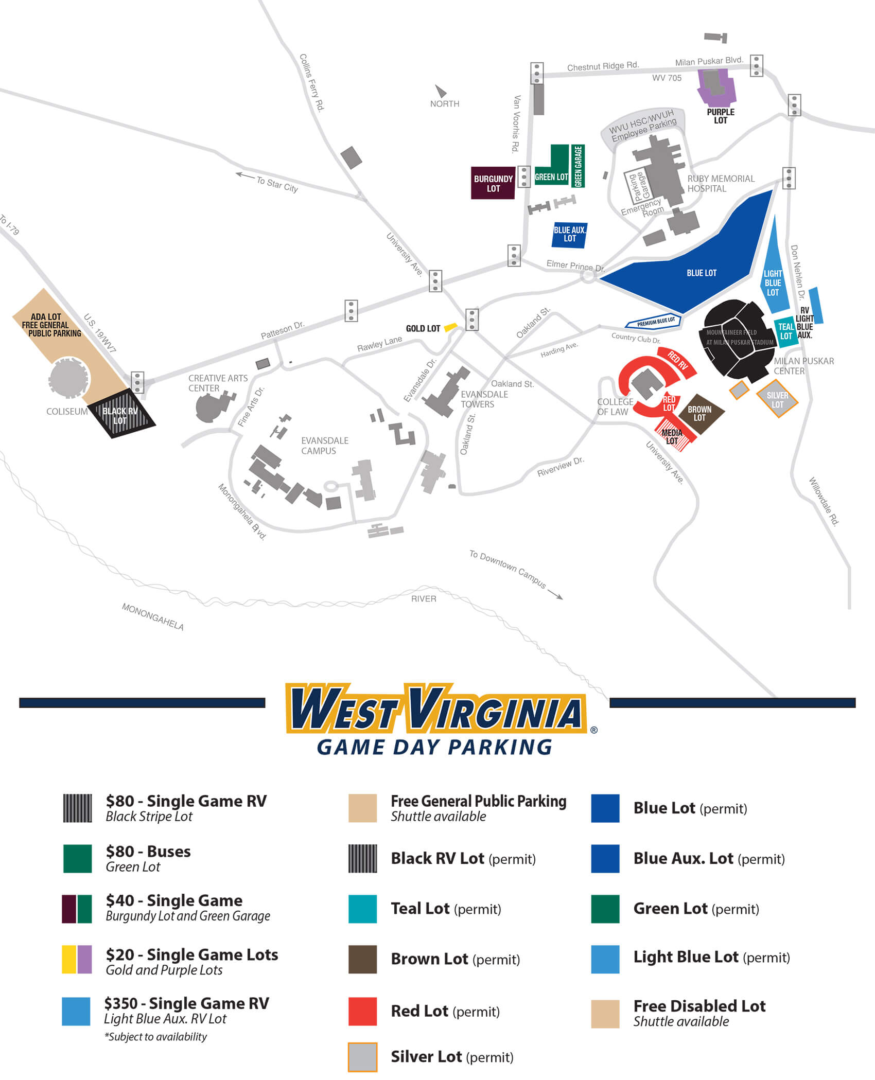 Downtown Campus Map Wvu.Wvu Gameday Parking Guide Food Bars Hotels Too